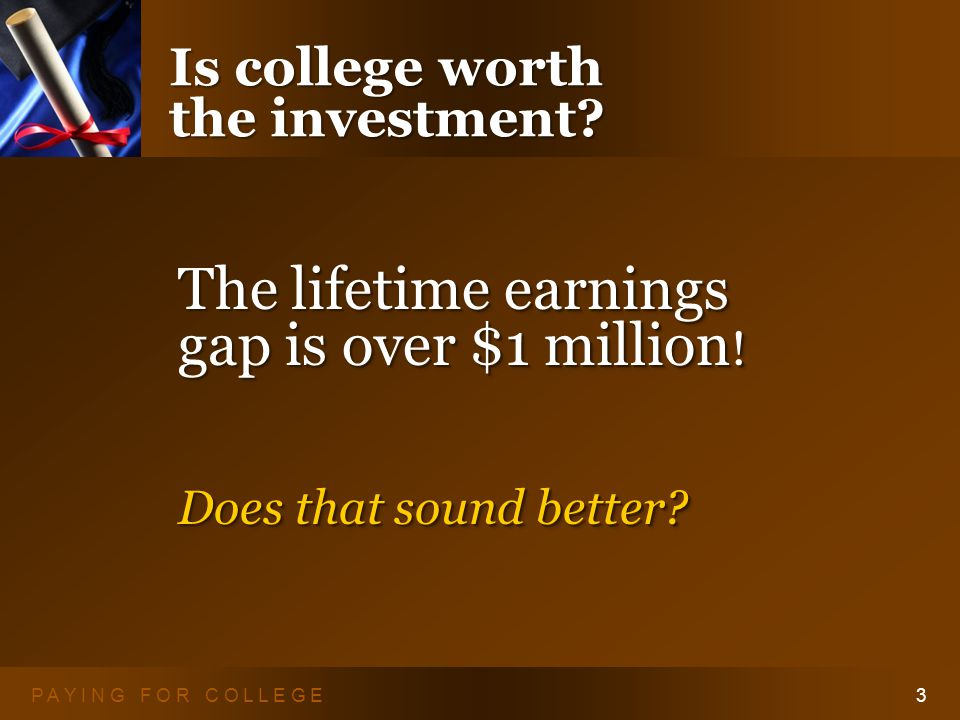 P A Y I N G F O R C O L L E G E3 Is college worth the investment.