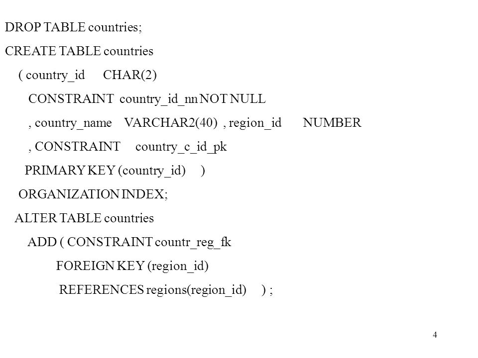 5 INSERT INTO countries VALUES ( 1, Italia , 1); INSERT INTO countries VALUES ( 2, France , 2); select * from countries;