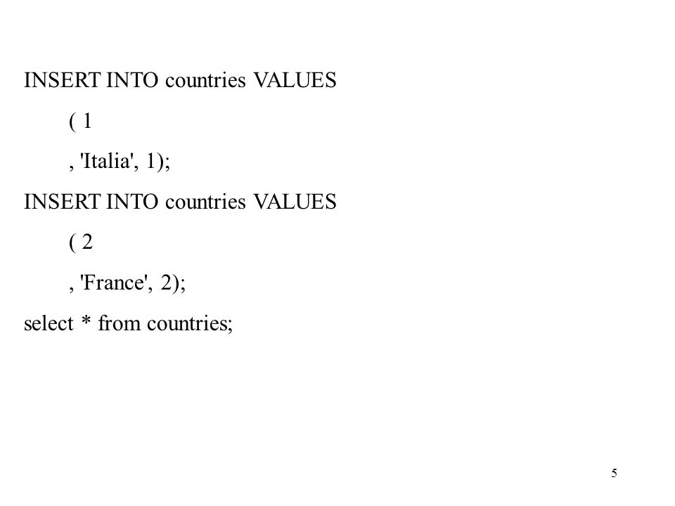 5 INSERT INTO countries VALUES ( 1, 'Italia', 1); INSERT INTO countries VALUES ( 2, 'France', 2); select * from countries;