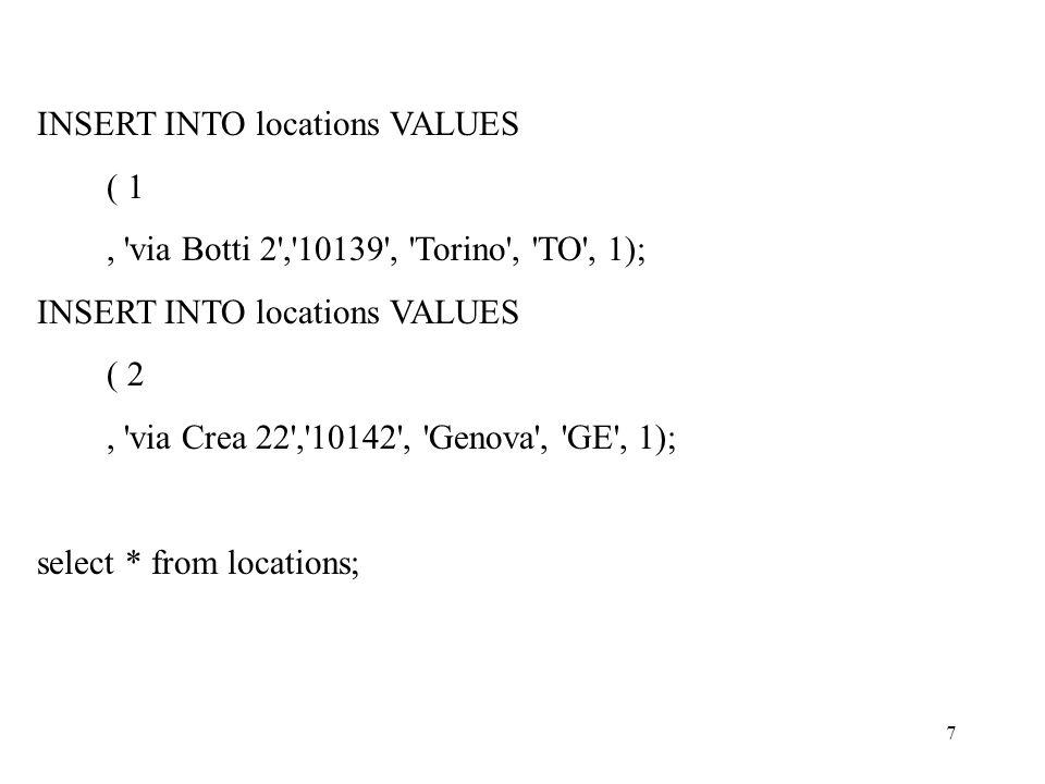 7 INSERT INTO locations VALUES ( 1, via Botti 2 , 10139 , Torino , TO , 1); INSERT INTO locations VALUES ( 2, via Crea 22 , 10142 , Genova , GE , 1); select * from locations;