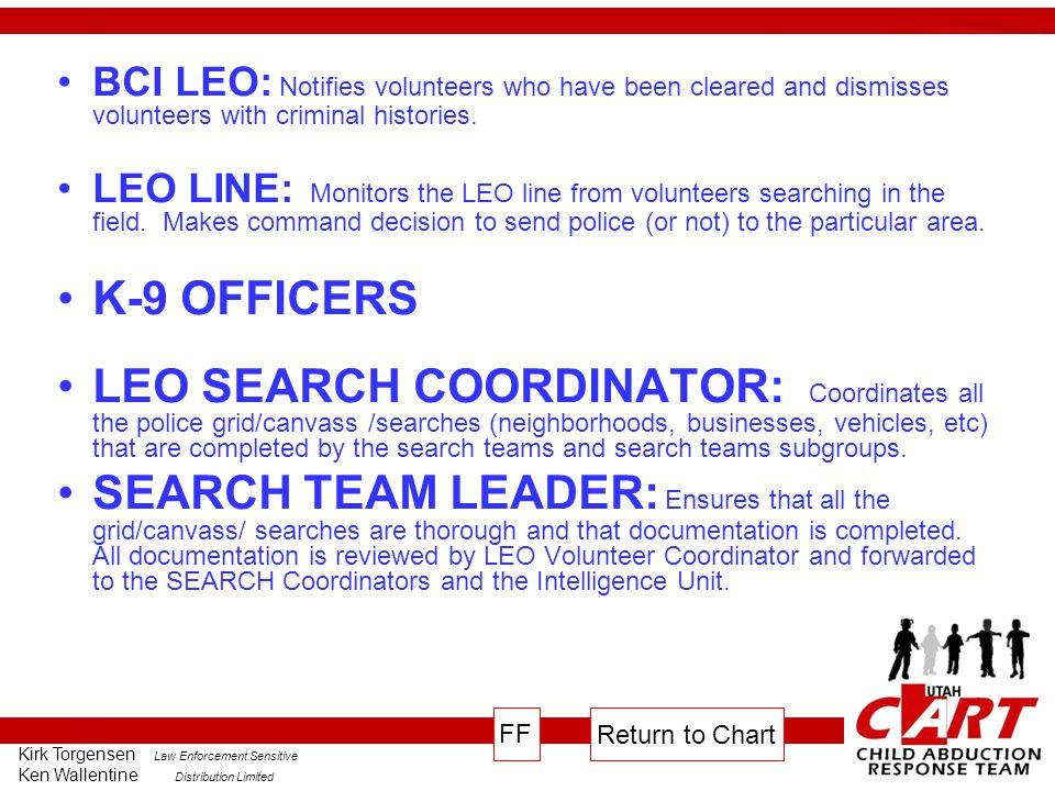 Kirk Torgensen Law Enforcement Sensitive Ken Wallentine Distribution Limited BCI LEO: Notifies volunteers who have been cleared and dismisses volunteers with criminal histories.
