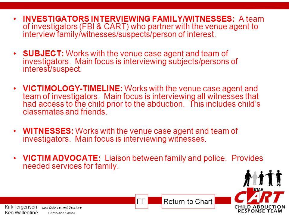 Kirk Torgensen Law Enforcement Sensitive Ken Wallentine Distribution Limited INVESTIGATORS INTERVIEWING FAMILY/WITNESSES: A team of investigators (FBI & CART) who partner with the venue agent to interview family/witnesses/suspects/person of interest.