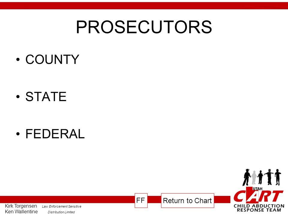 Kirk Torgensen Law Enforcement Sensitive Ken Wallentine Distribution Limited PROSECUTORS COUNTY STATE FEDERAL Return to Chart FF