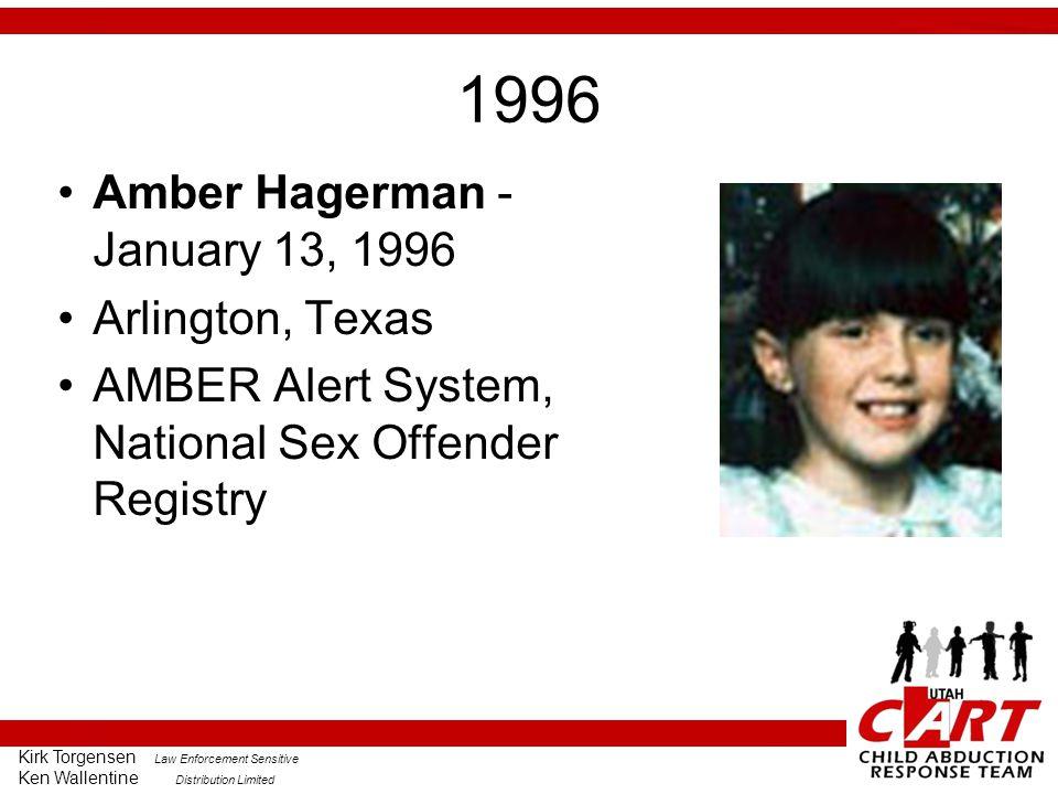 Kirk Torgensen Law Enforcement Sensitive Ken Wallentine Distribution Limited 1996 Amber Hagerman - January 13, 1996 Arlington, Texas AMBER Alert System, National Sex Offender Registry