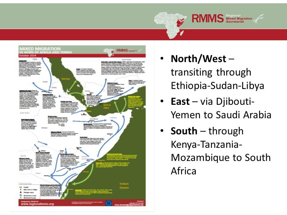 North/West – transiting through Ethiopia-Sudan-Libya East – via Djibouti- Yemen to Saudi Arabia South – through Kenya-Tanzania- Mozambique to South Af