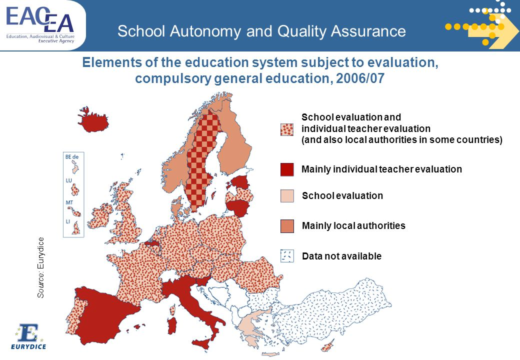 Elements of the education system subject to evaluation, compulsory general education, 2006/07 School Autonomy and Quality Assurance School evaluation and individual teacher evaluation (and also local authorities in some countries) School evaluation Mainly individual teacher evaluation Mainly local authorities Data not available Source: Eurydice