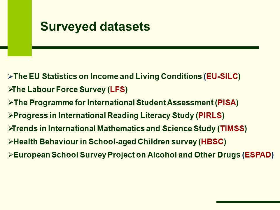 Surveyed datasets  The EU Statistics on Income and Living Conditions (EU-SILC)  The Labour Force Survey (LFS)  The Programme for International Student Assessment (PISA)  Progress in International Reading Literacy Study (PIRLS)  Trends in International Mathematics and Science Study (TIMSS)  Health Behaviour in School-aged Children survey (HBSC)  European School Survey Project on Alcohol and Other Drugs (ESPAD)