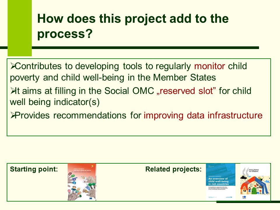 Starting point: Related projects: How does this project add to the process.