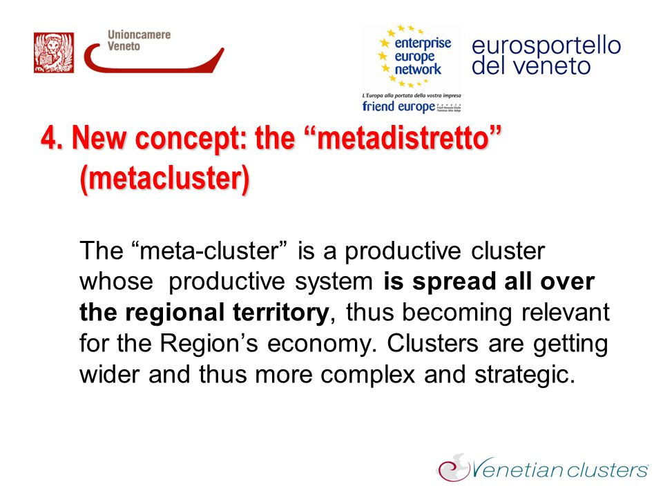 """4. New concept: the """"metadistretto"""" (metacluster) The """"meta-cluster"""" is a productive cluster whose productive system is spread all over the regional t"""