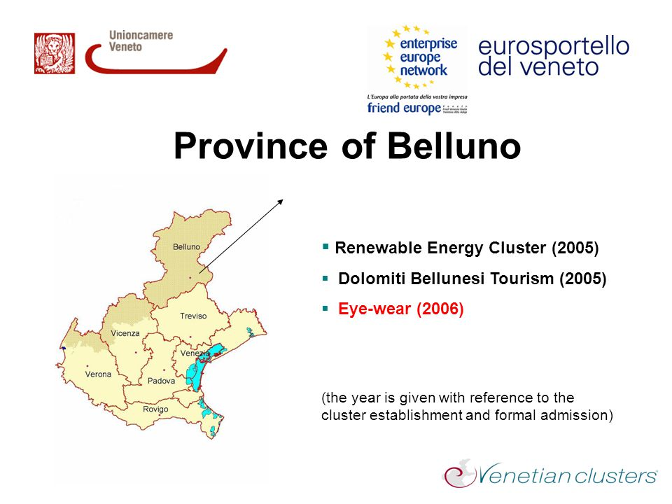 Province of Belluno  Renewable Energy Cluster (2005)  Dolomiti Bellunesi Tourism (2005)  Eye-wear (2006) (the year is given with reference to the cluster establishment and formal admission)