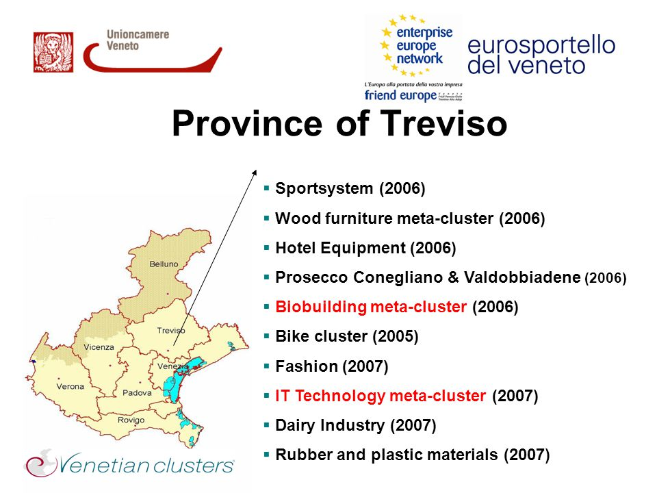 Province of Treviso  Sportsystem (2006)  Wood furniture meta-cluster (2006)  Hotel Equipment (2006)  Prosecco Conegliano & Valdobbiadene (2006)  Biobuilding meta-cluster (2006)  Bike cluster (2005)  Fashion (2007)  IT Technology meta-cluster (2007)  Dairy Industry (2007)  Rubber and plastic materials (2007)