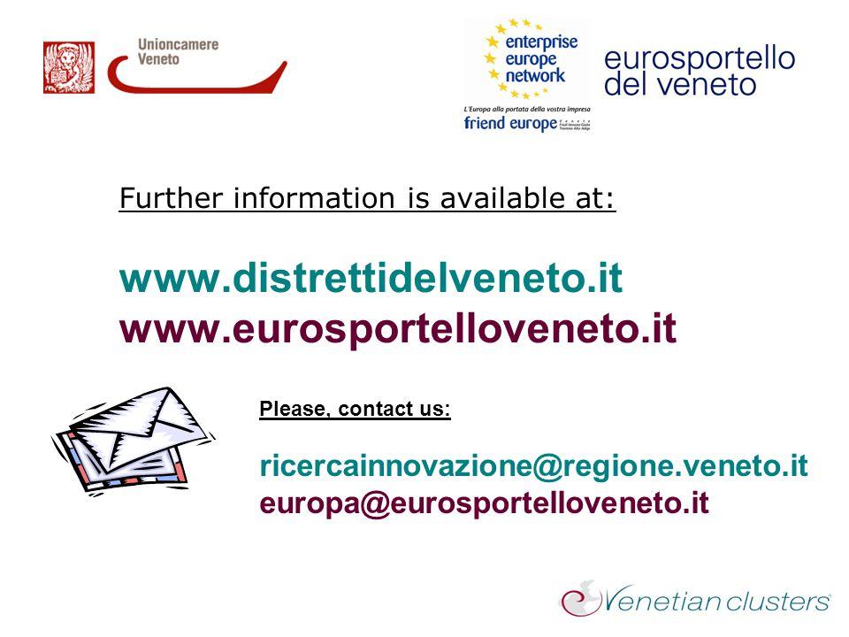Further information is available at: www.distrettidelveneto.it www.eurosportelloveneto.it Please, contact us: ricercainnovazione@regione.veneto.it eur