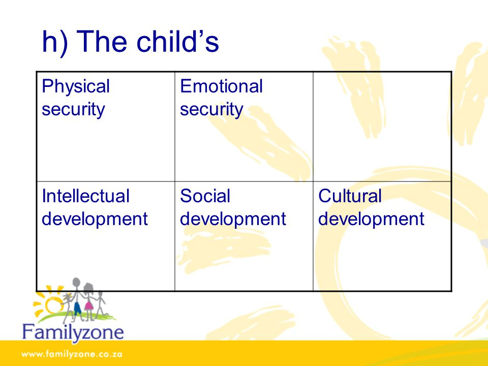 h) The child's Physical security Emotional security Intellectual development Social development Cultural development