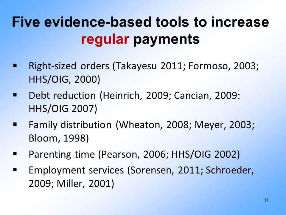 Five evidence-based tools to increase regular payments  Right-sized orders (Takayesu 2011; Formoso, 2003; HHS/OIG, 2000)  Debt reduction (Heinrich,