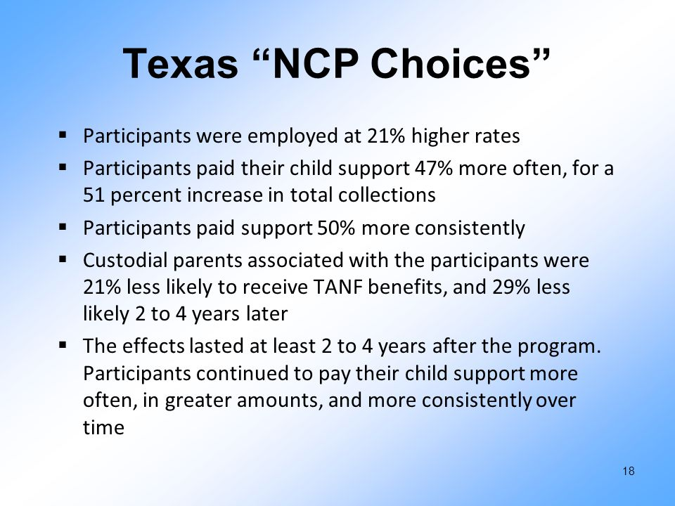 "Texas ""NCP Choices""  Participants were employed at 21% higher rates  Participants paid their child support 47% more often, for a 51 percent increase"