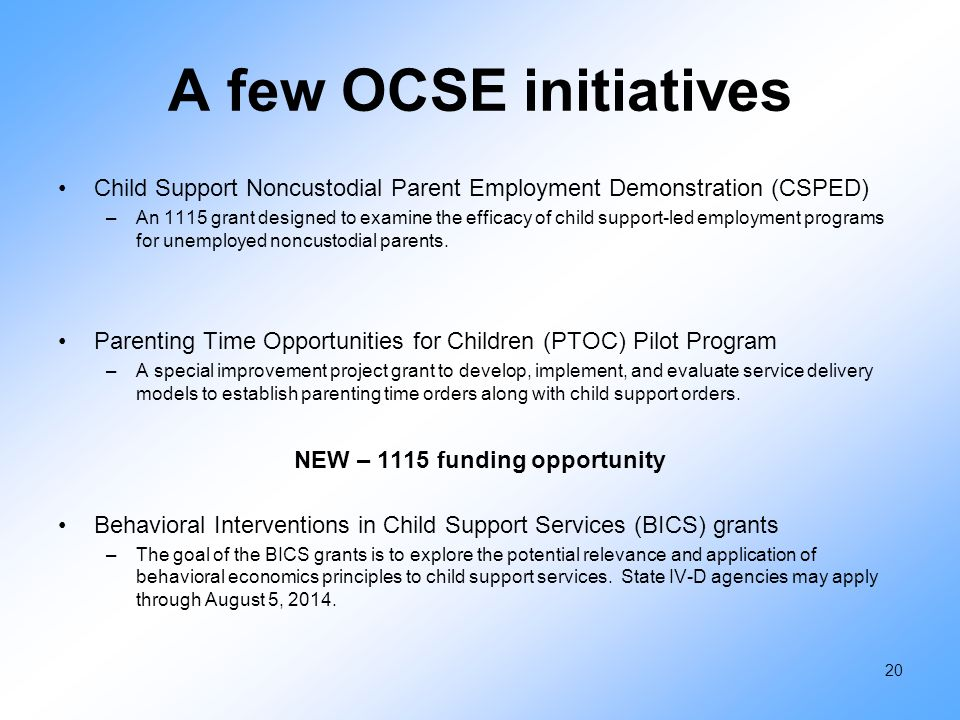 A few OCSE initiatives Child Support Noncustodial Parent Employment Demonstration (CSPED) –An 1115 grant designed to examine the efficacy of child sup