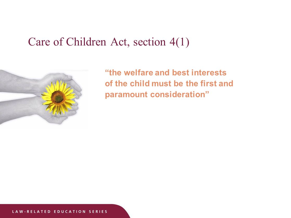 Care of Children Act, section 4(1) the welfare and best interests of the child must be the first and paramount consideration