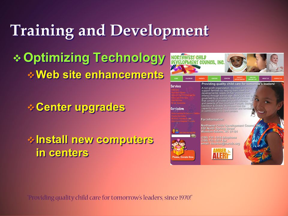 Training and Development  Optimizing Technology  Web site enhancements  Center upgrades  Install new computers in centers  Optimizing Technology  Web site enhancements  Center upgrades  Install new computers in centers