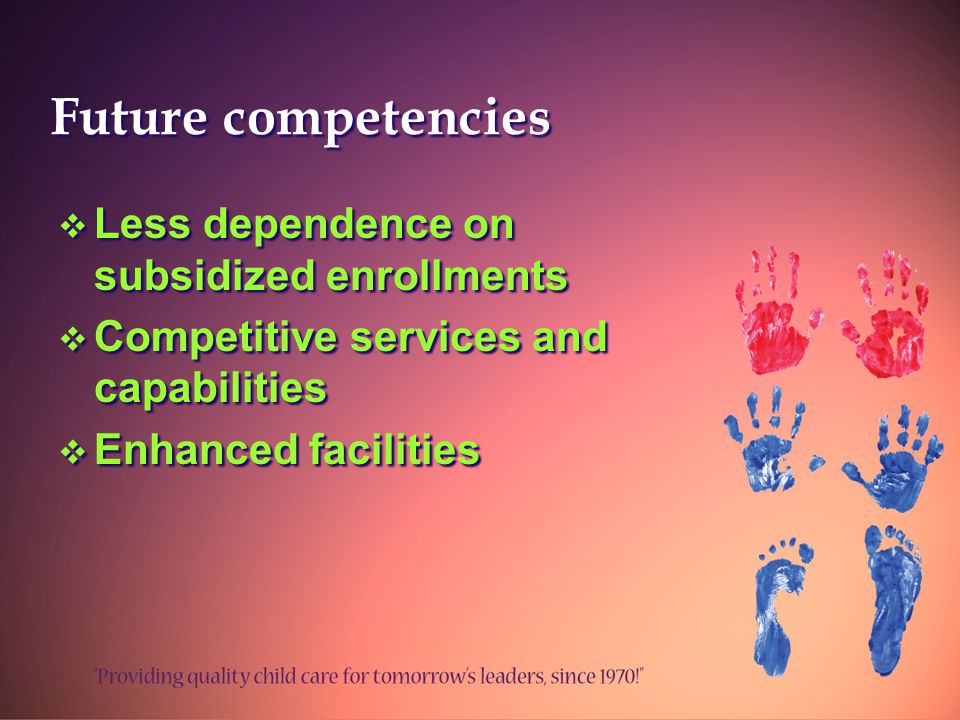 Future competencies  Less dependence on subsidized enrollments  Competitive services and capabilities  Enhanced facilities  Less dependence on subsidized enrollments  Competitive services and capabilities  Enhanced facilities