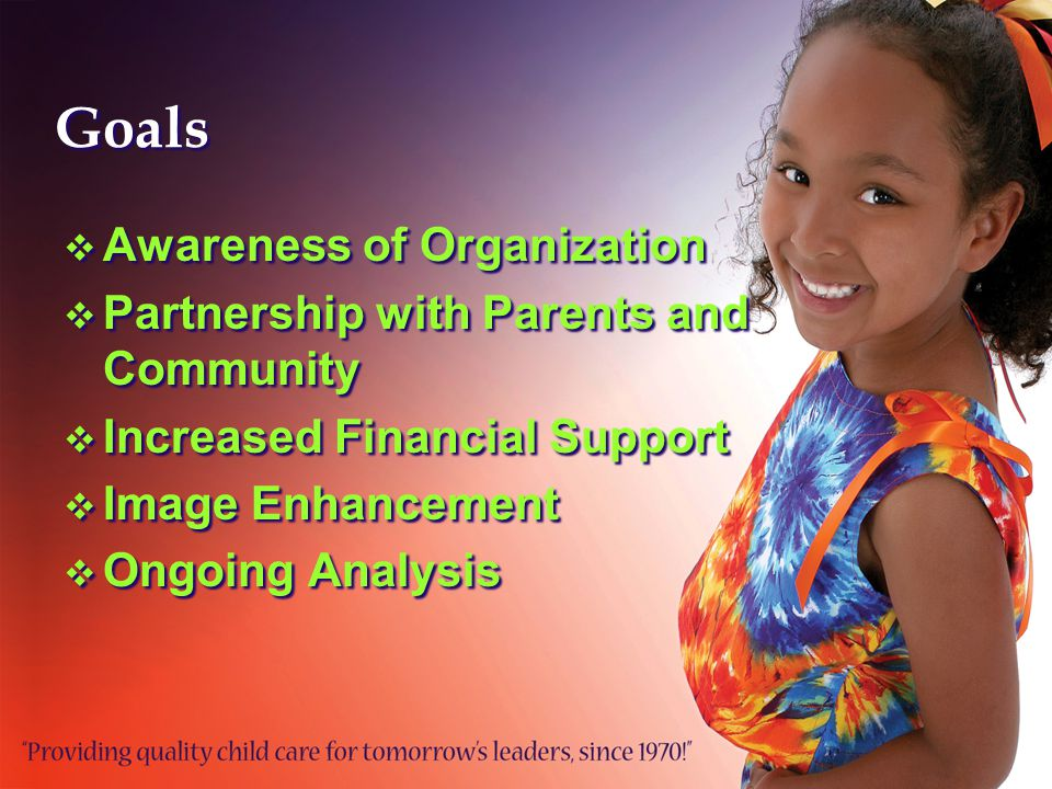 Goals  Awareness of Organization  Partnership with Parents and Community  Increased Financial Support  Image Enhancement  Ongoing Analysis  Awareness of Organization  Partnership with Parents and Community  Increased Financial Support  Image Enhancement  Ongoing Analysis