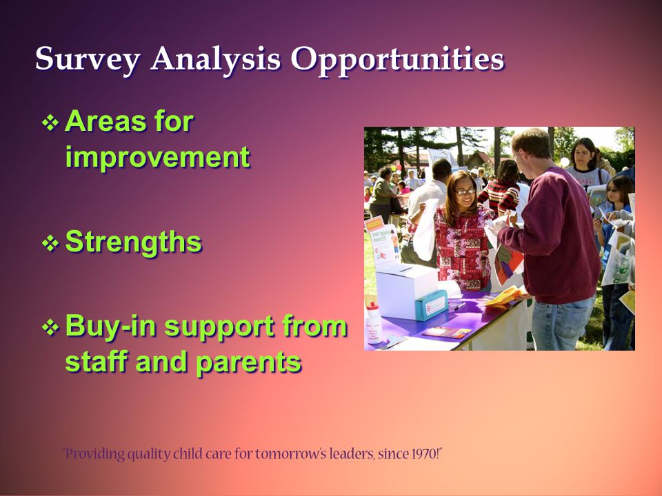 Survey Analysis Opportunities  Areas for improvement  Strengths  Buy-in support from staff and parents  Areas for improvement  Strengths  Buy-in support from staff and parents