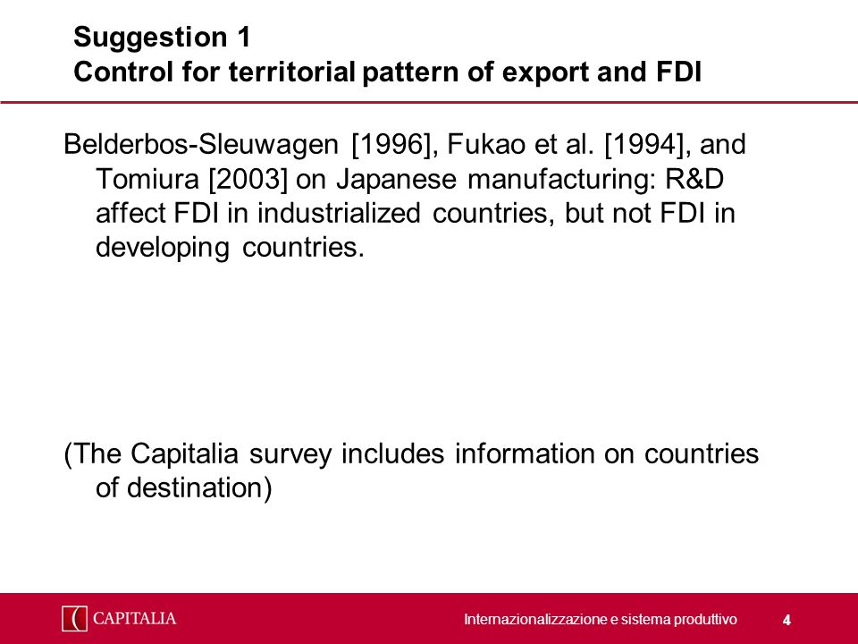 Internazionalizzazione e sistema produttivo 4 Suggestion 1 Control for territorial pattern of export and FDI Belderbos-Sleuwagen [1996], Fukao et al.