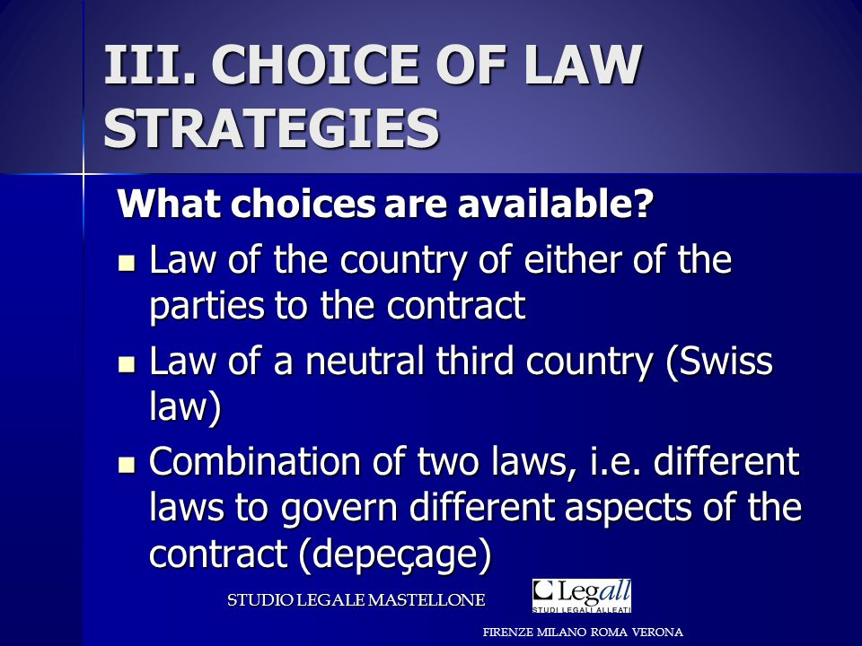 III. CHOICE OF LAW STRATEGIES What choices are available.