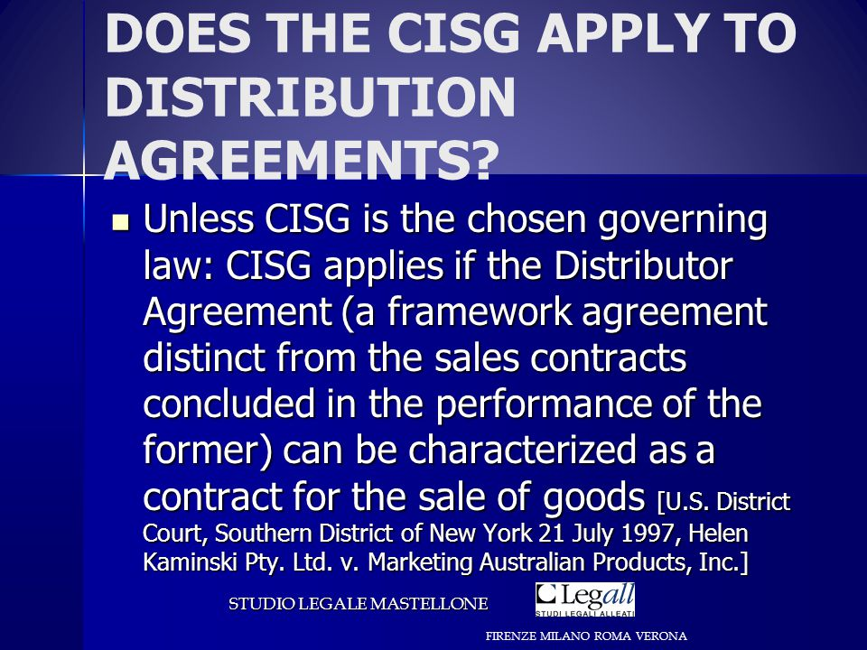 DOES THE CISG APPLY TO DISTRIBUTION AGREEMENTS.
