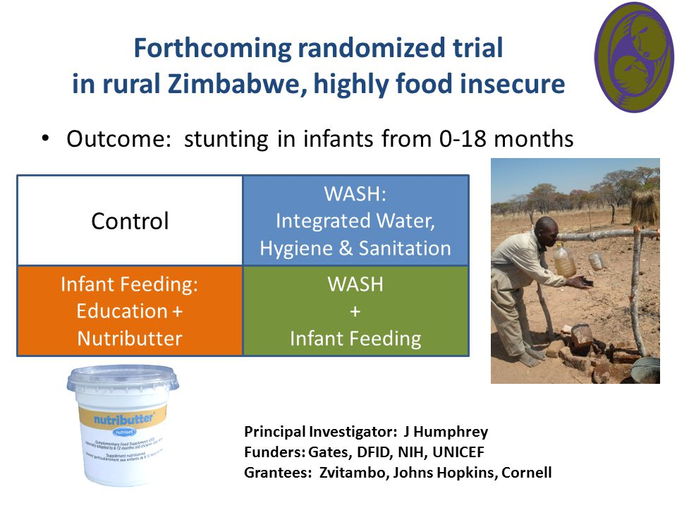 Forthcoming randomized trial in rural Zimbabwe, highly food insecure Outcome: stunting in infants from 0-18 months Control Infant Feeding: Education +