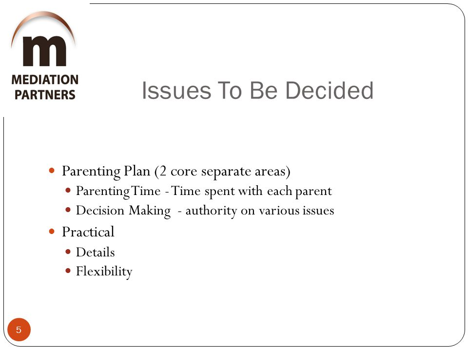 Issues To Be Decided 5 Parenting Plan (2 core separate areas) Parenting Time - Time spent with each parent Decision Making - authority on various issues Practical Details Flexibility