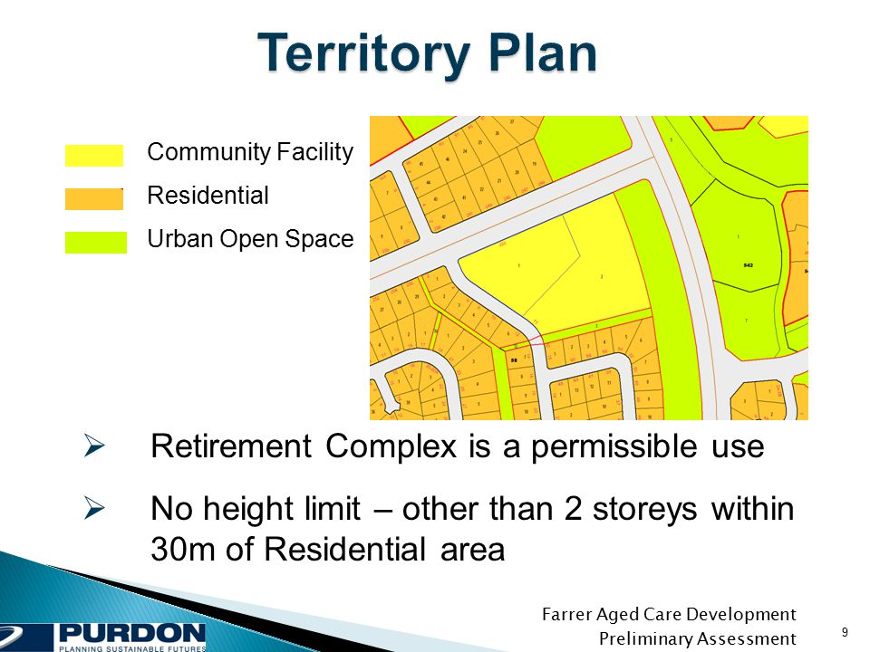 Farrer Aged Care Development Preliminary Assessment 9 Community Facility Residential Urban Open Space  Retirement Complex is a permissible use  No height limit – other than 2 storeys within 30m of Residential area