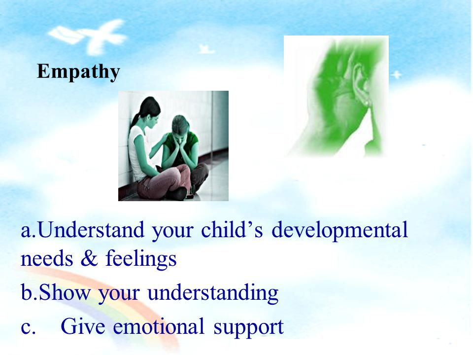 Empathy is : tthe recognition and understanding of the states of mind, beliefs, desires and emotions of others tthe ability to put oneself into another s shoes aa sort of emotional resonance (From Wikipedia, the free encyclopedia)
