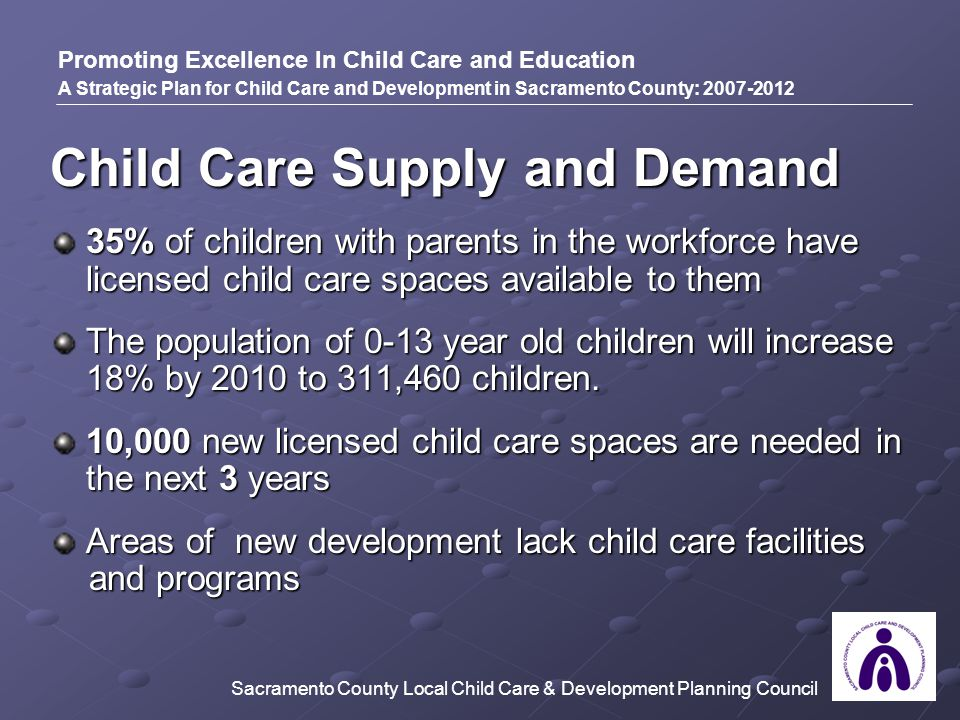 Child Care Supply and Demand 35% of children with parents in the workforce have licensed child care spaces available to them The population of 0-13 year old children will increase 18% by 2010 to 311,460 children.