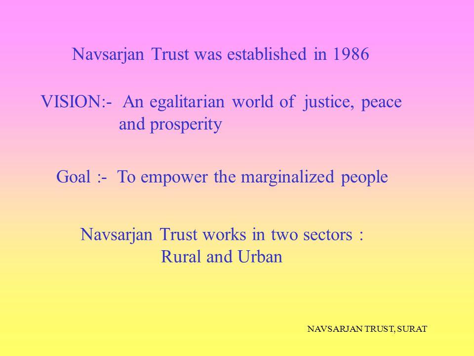 NAVSARJAN TRUST, SURAT Goal :- To empower the marginalized people Navsarjan Trust was established in 1986 Navsarjan Trust works in two sectors : Rural
