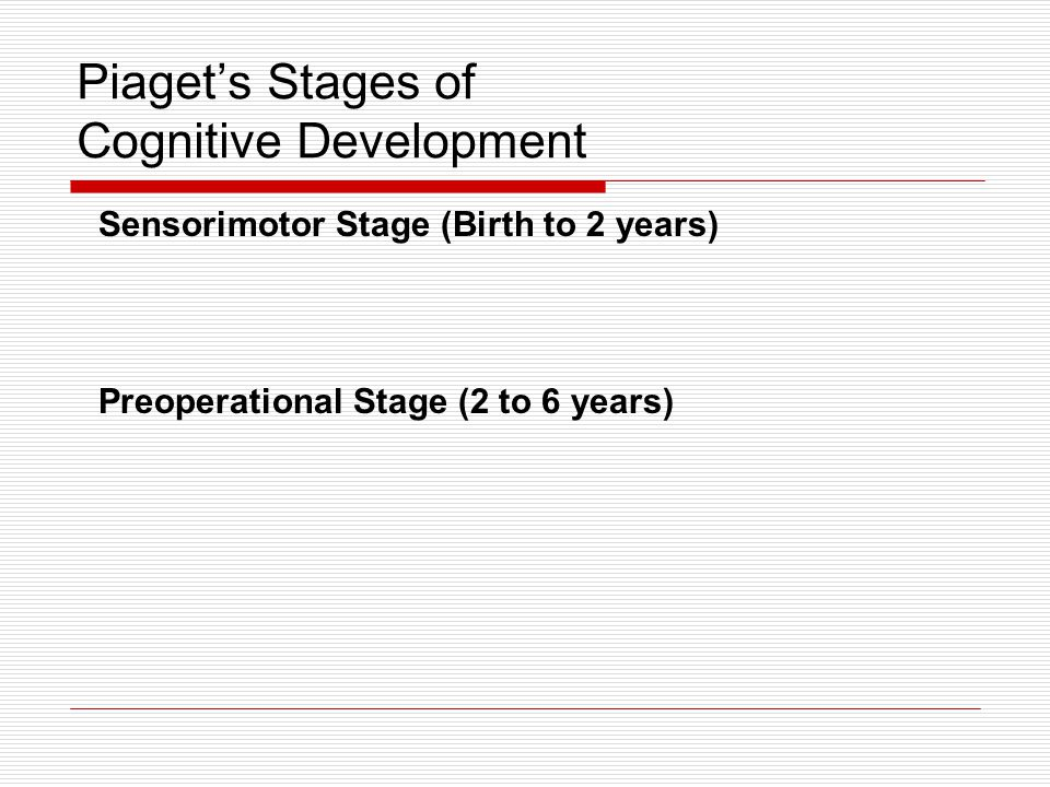 Piaget's Stages of Cognitive Development Concrete operational Stage (6 to 12 years) Formal operational Stage (12 years on)