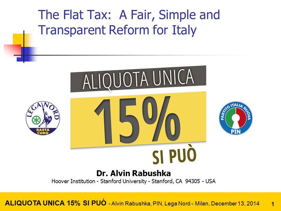 Even Einstein Can't Understand the Income Tax Code ALIQUOTA UNICA 15% SI PUÒ - Alvin Rabushka, PIN, Lega Nord - Milan, December 13, 2014 2