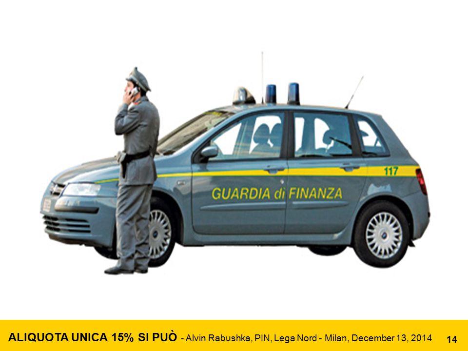 ALIQUOTA UNICA 15% SI PUÒ - Alvin Rabushka, PIN, Lega Nord - Milan, December 13, 2014 14