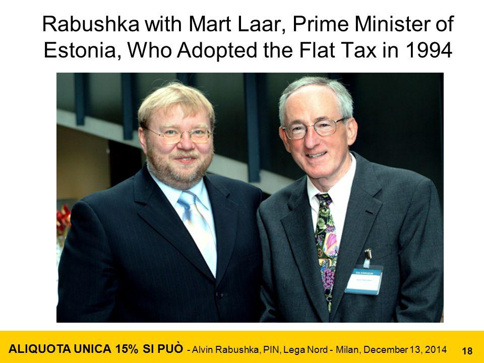 Rabushka with Mart Laar, Prime Minister of Estonia, Who Adopted the Flat Tax in 1994 ALIQUOTA UNICA 15% SI PUÒ - Alvin Rabushka, PIN, Lega Nord - Mila