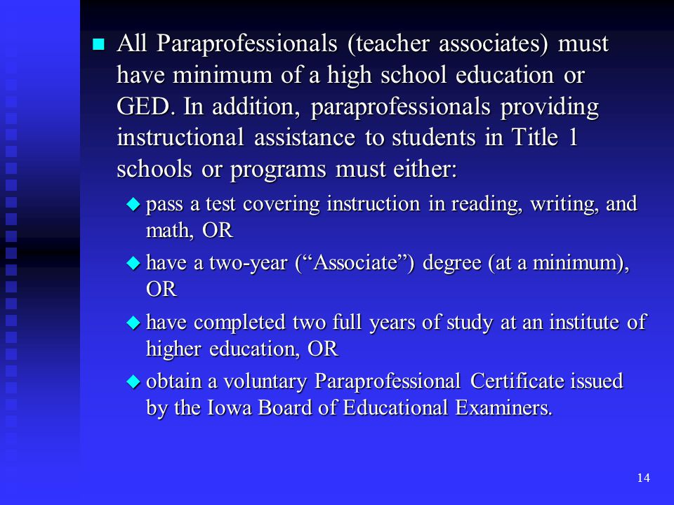 14 n All Paraprofessionals (teacher associates) must have minimum of a high school education or GED.