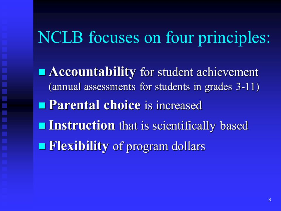 3 NCLB focuses on four principles: n Accountability for student achievement (annual assessments for students in grades 3-11) n Parental choice is increased n Instruction that is scientifically based n Flexibility of program dollars