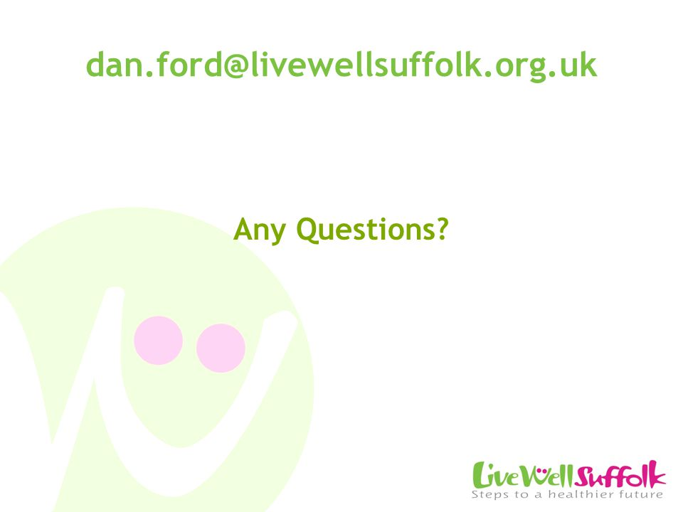 dan.ford@livewellsuffolk.org.uk Any Questions?