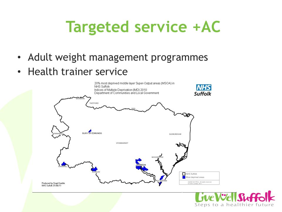 Targeted service +AC Adult weight management programmes Health trainer service