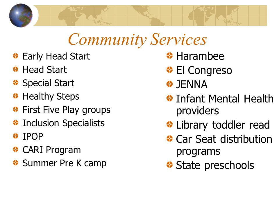 Community Services Early Head Start Head Start Special Start Healthy Steps First Five Play groups Inclusion Specialists IPOP CARI Program Summer Pre K camp Harambee El Congreso JENNA Infant Mental Health providers Library toddler read Car Seat distribution programs State preschools