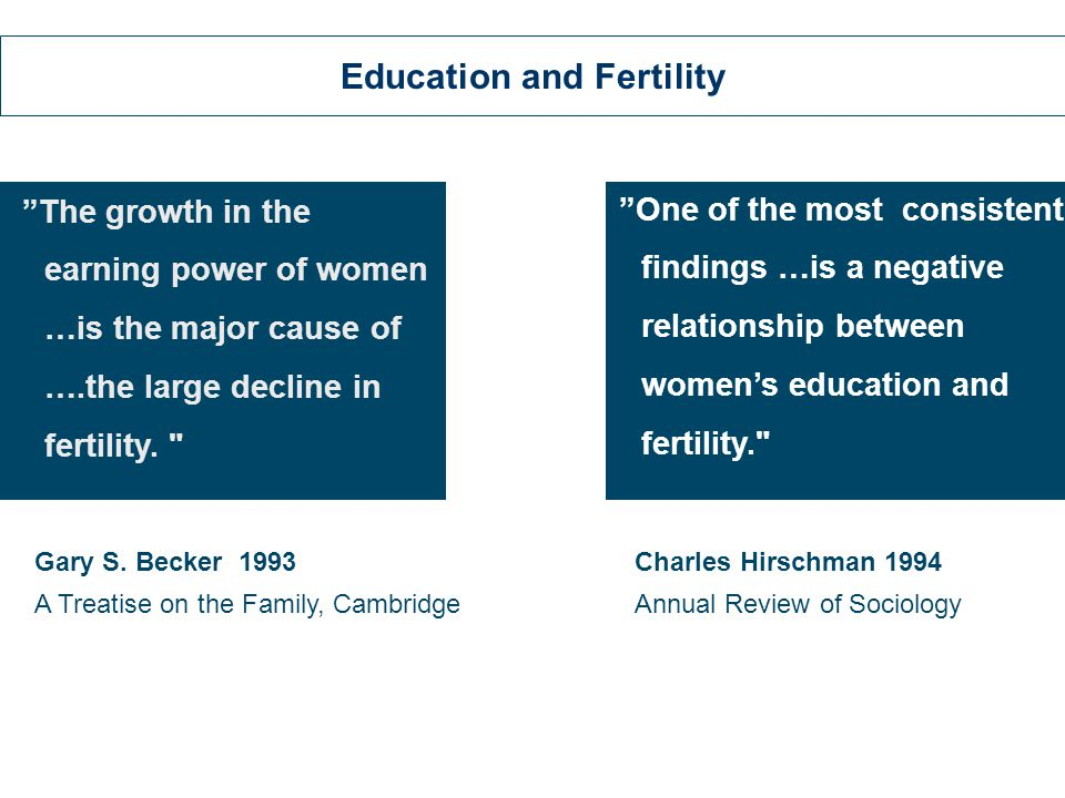 The growth in the earning power of women …is the major cause of ….the large decline in fertility.