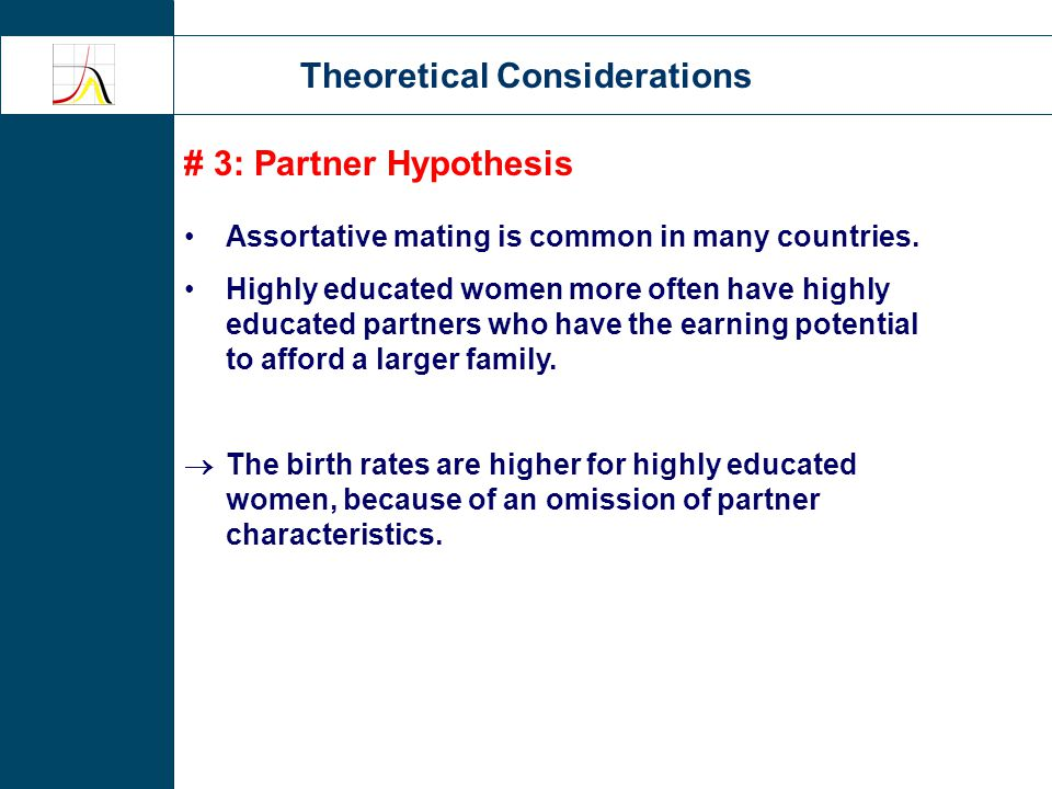 Theoretical Considerations # 3: Partner Hypothesis Assortative mating is common in many countries.