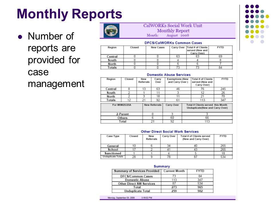 Monthly Reports Number of reports are provided for case management