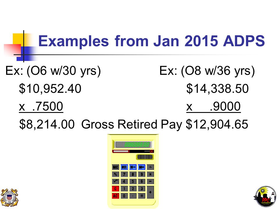 Examples from Jan 2015 ADPS Ex: (O6 w/30 yrs) Ex: (O8 w/36 yrs) $10,952.40 $14,338.50 x.7500 x.9000 $8,214.00 Gross Retired Pay $12,904.65