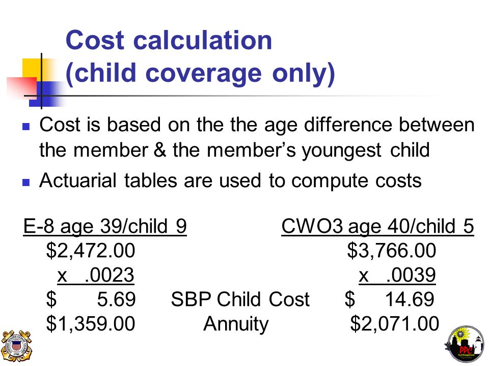 Cost calculation (child coverage only) Cost is based on the the age difference between the member & the member's youngest child Actuarial tables are used to compute costs E-8 age 39/child 9 CWO3 age 40/child 5 $2,472.00 $3,766.00 x.0023 x.0039 $ 5.69 SBP Child Cost $ 14.69 $1,359.00 Annuity $2,071.00