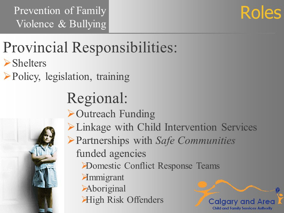 Roles Regional:  Outreach Funding  Linkage with Child Intervention Services  Partnerships with Safe Communities funded agencies  Domestic Conflict Response Teams  Immigrant  Aboriginal  High Risk Offenders Prevention of Family Violence & Bullying Provincial Responsibilities:  Shelters  Policy, legislation, training