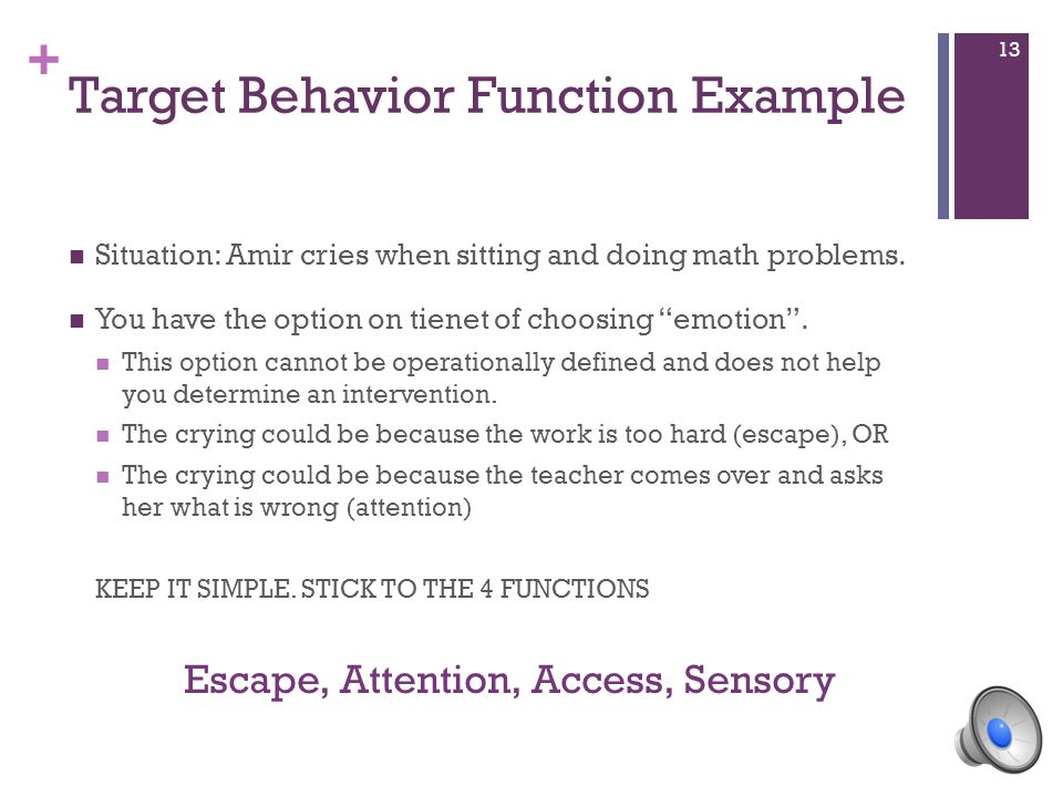 """+ Target Behavior Function Example Situation: Amir cries when sitting and doing math problems. You have the option on tienet of choosing """"emotion"""". Th"""